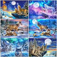 arte da parede DIY Oil Painting By Numbers animal Decoração Acrílico Kids Paint Coloring By Numbers Lobo pintado à mão presente
