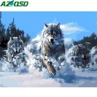 Wandkunst 50x40cm DIY Malen nach Zahlen für Erwachsene Tier Leinwand Wolf-Kunst-Zeichnung Handwerk nach Zahlen Set On Malen