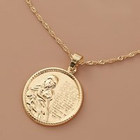Vintage Carved Gold Coin Roman Necklace For Women Bohemian Pendant Necklaces Statement Necklaces Chokers Hiphop Jewelry