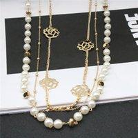 Kobiety Naszyjnik Naśladowany Pearl Chian Kwiat Naszyjniki Stop Długi Łańcuch Dla Kobiet Sukienka Akcesoria Biżuteria Prezent