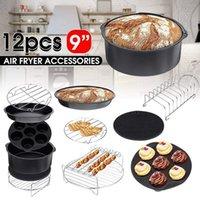 12pcs Air Fryer Accessori 9 pollici Fit for Airfryer 5.2-6.8QT cestino cottura Piatto Pizza Grill Pot cucina che cucina Strumento per partito