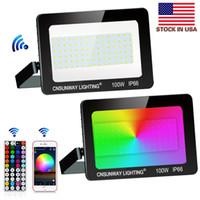 Luz de inundação 100W RGB mudança da cor, ao ar livre Bluetooth inteligente Floodlights RGBW 16 milhões de cores, 44 teclas Controlador Bluetooth APP