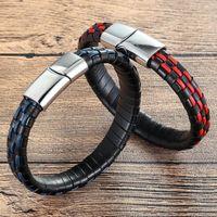 XQNI Новый дизайн натуральная кожа Wrap Hand Made Мужчины из нержавеющей стали кожаные браслеты спорта Магнитный Пряжка Мужской подарков ювелирные изделия