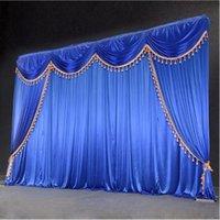 Oferta especial 10ftx10ft cortina de telón de fondo de la boda de lentejuelas con botín telón / decoración de la boda de hielo romántica cortinas de la etapa de seda