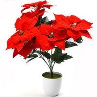 Dekoracyjne kwiaty Wieńce Sztuczne Poinsettia Kwiat Home Office Fałszywe Christmas Party Event Floral Decoration