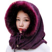 2020 Women Multifunction Scarf Hat Cashmere Wool Blend Knitted Neck Hats Winter Soft Warm Solid Color Bonnet Mask Women Head Cap
