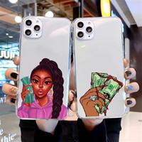 كسب المال ليس الأصدقاء كاش الأفرو فتاة سوداء Fundas حالة الهاتف لiPhone12Pro MAX 11 12 5S 6S 7 8 زائد X XS MAX XR 11Pro