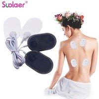 Massageiros elétricos 20/10 pcs manchas de eletrodos de silicone gel tens unidades de substituição de almofadas para mini adesivos de pele de corpo inteiro com cabo de 4 vias