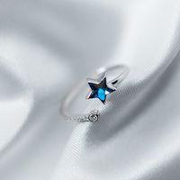 US Maat 5.5 ~ 7.5 Design Zirkoon Stenen Sieraden Korea Vrouwen Sterling Zilver 925 Ster Blauwe Edelsteen Crystal Ring voor Dame