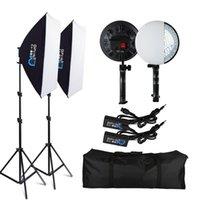 라이트 스탠드 붐 스 핀 50x70cm LED 램프 구슬 소프트 박스 조명 키트 PO 스튜디오 비디오 용 연속 시스템 카메라 액세서리