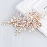 Cristaux élégants à la main d'or strass fleur feuille mariage cheveux clip Barrettes mariée Coiffe Accessoires cheveux chaud Vente S918