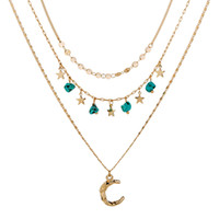 Boho Turquoise Moon Star Clavicle Necklaces Vintage Crescent Moon Sequins Multi-layer Chokers Necklace Women Girls Jewelry
