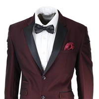 Burgundy Mens Suit 2 Pieces Jacket Pants Two Button Formal W...