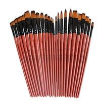 Art Modelo tinta aquarela óleo de cabelo Nylon Acrílico Drawing Art Supplies Brown 6 Pcs Artesanato Artista Escovas Set