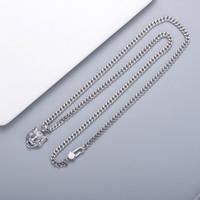 Avrupa Amerika Sıcak Satış Retro Erkekler Lady Kadınlar Cupronickel Gümüş Kaplama Uzun Zincir Kolye Oyulmuş G ile Baş harfleri Kaplan Başkanı Kolye