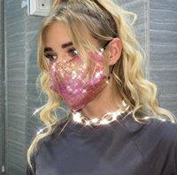 Moda 3D Bling Pullu Yüz Maskeleri Avrupa Amerikan Popüler Tasarım Maskeler Yaz İnce toz geçirmez Nefes Yıkanabilir Gece Kulübü parti Maskesi DHL