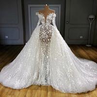 Luxury Illusion Overkirts Bröllopsklänningar Fullständiga ärmar Sexiga See Through Pearls Appliques Bridal Gowns Sheer Neck Vestido de Novia