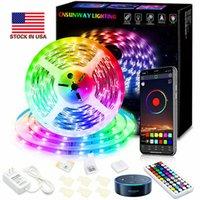 5 M 10 M 5050 SMD RGB LED bande de lumière de Noël String Ribbon lampe Décor cassette + Wifi + Bluetooth 24 44Keys télécommande + Power Kit Adaptateur