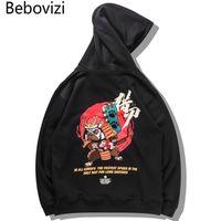 Bebovizi Harajuku Hip Hop gestickter Samurai Dog Print Pullover Sweatshirts Street Chinese Characters Pullover Kapuzen-Tops