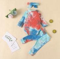 Conjuntos teñido lazo niñas Pantalones mameluco 3pcs con banda de manga larga para niños Trajes encanto de la niña de ropa al por mayor BT5775