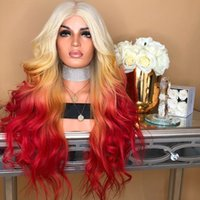 Nuove parrucche colorate per le donne, tre colori parrucche pendenza, le donne amano i produttori europei di stile dei capelli in azione