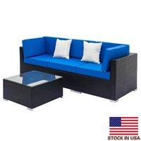 Gemütliches Wohnzimmer Sofa voll ausgestattet Weberei Rattan Set mit 2 stücke Ecke 1 stücke Einzelne Sofas 1 Stück Couchtisch schwarz