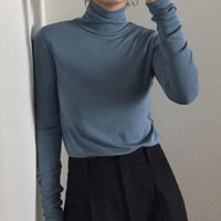 Stretch Women Sweaters Turtleneck Pullovers soft Primer Shir...