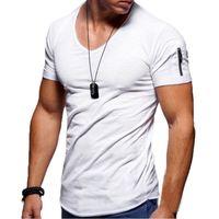 Erkek Kısa Kollu T-shirt Yaz V Yaka Spor İnce Erkek Giyim İçin Erkek Yumuşak Katı Renk Tee Gömlek Erkekler Spor Casual