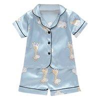 아기 파자마 짧은 소매 어린이 의류 소년 소녀 만화 사슴 의상 세트 아동 블라우스 + 반바지 잠옷 탑 인쇄 설정