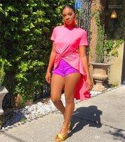 Düzensiz Bölünmüş Uzun Bluz Moda Tasarımcısı Pembe Renk Tshirts ile Dantelli Seksi Kadın Mürettebat Boyun Giyim Kadın