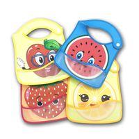 Bavoirs imperméables pour enfants PU Burp Vêtements CARTOON Alimentation Anti-fruits sale réutilisable Saliva serviette Fruit Pomme Fraise PU Bib chasubles E8603