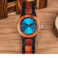 Unique Sapphire Blue Face Wooden Watches Handmade Full Woode...