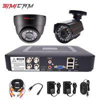 Sistemler Güvenlik Kamera Sistemi CCTV Kiti DVR Kameralar HD 4CH 1080N 5in1 2 adet 720 P / 1080 P AHD 2MP P2P Video Gözetim Seti