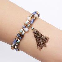 Charme Pulseiras Elegante Marinho Azul Pedra Beads Para Mulheres Gold Cor Metal Handmade Moda Verão Jóias 2021