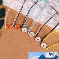 Hecho a mano de cera de rosca tejido Pulseras de múltiples capas de la amistad pulsera trenzada Cera cadena con la flor del crisantemo del encanto para las mujeres de playa del verano