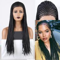 꼰된 상자 머리 띠 가발 긴 검은 머리 합성 레이스 프론트 가발 여성 열 저항 코스프레 레이스 가발