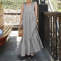 di Fashion Square Neck Maxi abito donne Sundress ZANZEA estate 2020 casuale della bretella Vestiti Femminile pieghe dell'abito Plus Size 5XL
