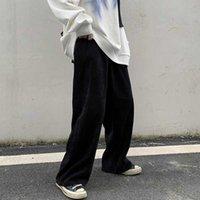 GOOHOJIO 2020 Nouveau surdimensionné taille haute Pantalons Hommes Casual Pantalon large jambe Corduroy Pantalon taille élastique Hommes Vintage