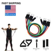 ABD Stok 11 Adet Çekme Bantları Direnç Egzersiz Halat Spor Egzersizleri Eğitim Spor Elastik Vücut Askıları 24 Takım / Karton