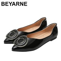 BEYARNEWomen Ballet Flats Pointed Toe Loafers Metal Decoration Slip on Slide Casual Flat Shoes Big Size Zapatos Mujer Black Red