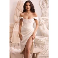 Vestido de Verano Vestido ajustado de nuevo marfil satinado irregular del hombro vestido de fiesta Vestidos Sexy Night Club