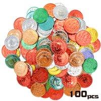 100 piezas coloridas plástico recompensa monedas escuela maestro de recompensa coin fingir jugar moneda para contar, fiesta de navidad de Halloween
