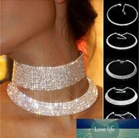Women Crystal Rhinestone Collar Necklace Choker Necklaces We...