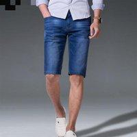 الرجال الجينز ياردة مرونة نحيل وصول عالية qualuty الصيف الرجال القطن السراويل الذكور فضفاض مستقيم الأزرق زائد الحجم 28-42 44 46 48