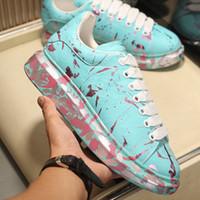 Mens Plataforma Shoes Lambskin Leather Blue Ocean pintura dos grafittis amantes populares Ins senhoras Flores Designer Sneakers das mulheres calçados casuais