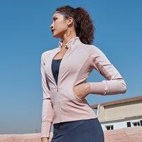 Donne che gestiscono Giacche maniche lunghe per gli Gym Fitness Jogging Felpa signore Yoga Sport Zipper Jacket Coat-shirt clothi delle donne