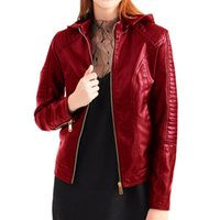 Adisputent Jacket Women Leather Zipper Hoodie Motorcycle Jac...