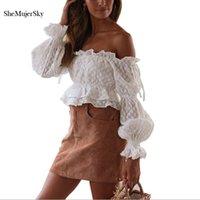 SheMujerSky White Off Shoulder Blouses Women Chiffon Blouse Long Flare Sleeve Shirts 2020 Summer Ruffles Tops
