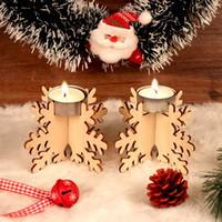 Set Bougeoir de Noël en bois 12pcs / set Candlestick Building Block Party vacances Holder bricolage Bougie en bois Décor