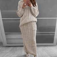 Fashion Women Knitted Set Long Sleeve Pullover Sweater+ Strap...